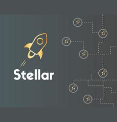Blockchain stellar style on grey background vector
