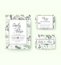 Botanical wedding floral invite rsvp thank u card vector