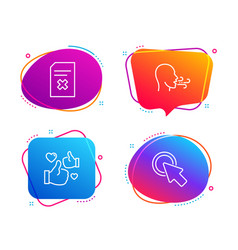 Breathing exercise like and delete file icons set vector