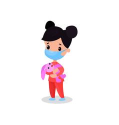 Brunette girl doctor in medical mask holding pink vector