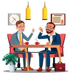 business meeting with partner at the table with vector image