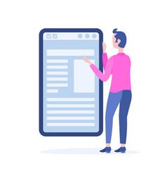 Businessman change mobile online application vector
