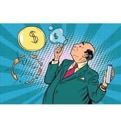 Businessman financier money inflates bubbles vector