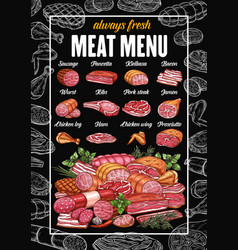 butcher meat and sausages grocery products menu vector image