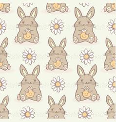 cartoon easter bunnies seamless repeat vector image