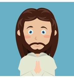 cartoon face Jesus christ blue eyes design vector image