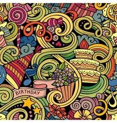 Cartoon hand-drawn doodles birthday theme seamless vector