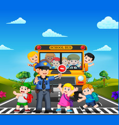 children cross the road while the police stop vector image
