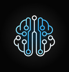 circuit board brain blue outline icon on vector image