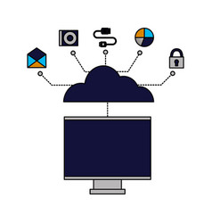 cloud computing monitor connection vector image