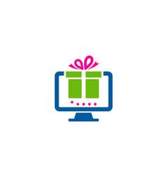 computer gift logo icon design vector image
