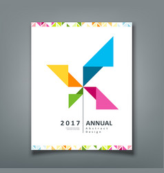 Cover annual report turbine origami paper vector