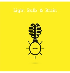 Creative brain logo and light bulb icon vector image