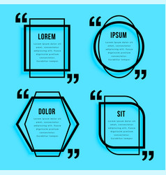 creative line style quotes template design set vector image