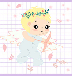 cute angle cartoon in spring theme vector image