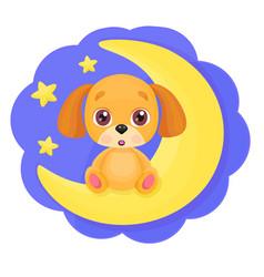 cute cartoon little dog vector image