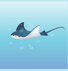 cute cartoon stingray swimming vector image