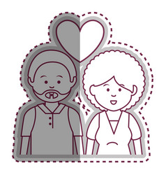 Cute lovers couple ethnicity vector