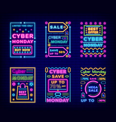 Cyber monday neon signs discounts sale set vector
