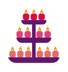 Diwali candles in shelving flat style icon vector