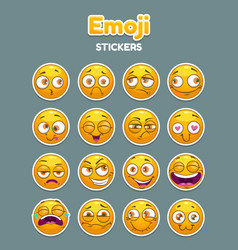 emoji collection funny comic cartoon yellow vector image