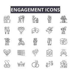 Engagement line icons for web and mobile design vector