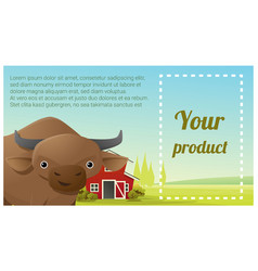 farm animal and rural landscape with cow vector image