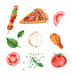 Fast food element design with watercolor on white vector