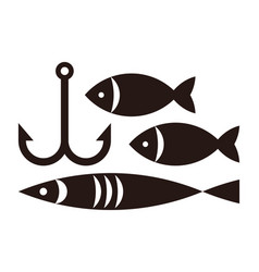 fishing hook and fishes vector image