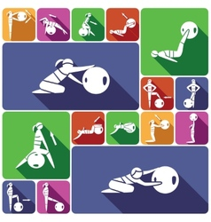 Fitness ball icons set flat vector