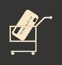 Flat black and white bank card in trolley vector