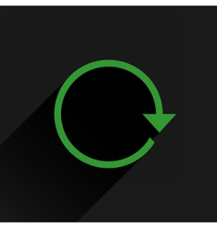 Flat green arrow icon refresh rotation sign vector