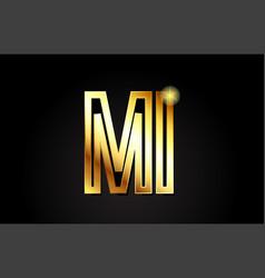 Gold alphabet letter mi m i logo combination icon vector