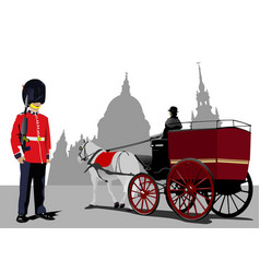 Grunge london images with guard and post cab image vector