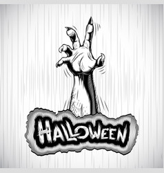 Halloween background zombie hand fog title sigh vector