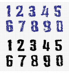 Hand-drawn Numbers Doodles Set 1 Sketch vector image