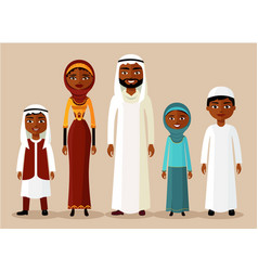 happy muslim arabic family in flat style vector image