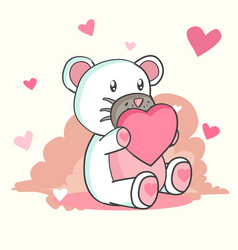 happy valentines day with teddy bear in love vector image
