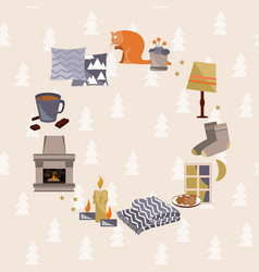 Hygge cozy home frame danish happiness concept vector