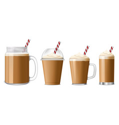 Ice coffee icon set realistic style vector