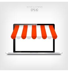 Internet shopping concept realistic laptop e vector
