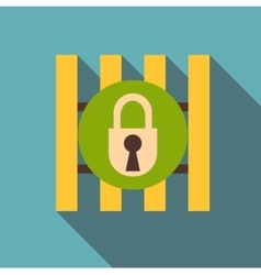 Iron bars door with padlock icon flat style vector