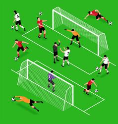 isometric football sport set vector image