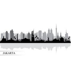 Jakarta city skyline silhouette background vector