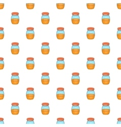 Jam in glass jar pattern cartoon style vector