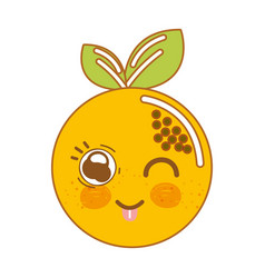 Kawaii nice happy orange fruit vector