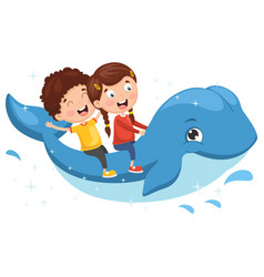 Kids riding whale vector