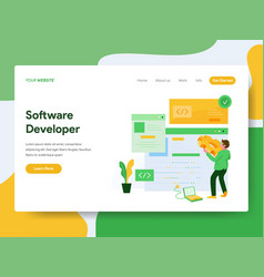 landing page template software developer vector image