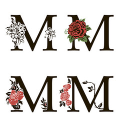 Letters m with flowers bouquet vector
