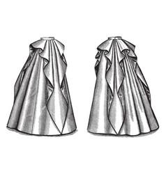 long rippled skirt vintage engraving vector image